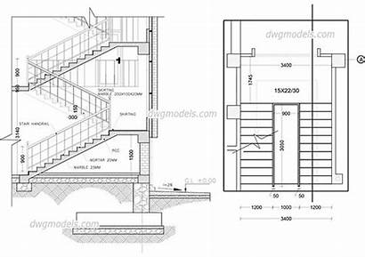 Staircase Drawing Dwg Section Drawings Stairs Autocad