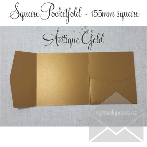 Antique Gold Metallic Pocketfold Wedding Invitations