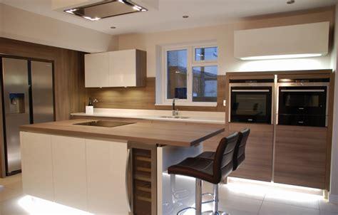 White High Gloss Kitchen, Grey Acacia Panelling In Brighton