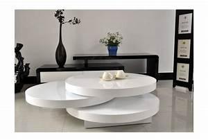 Table Salon Blanc Laqué : table basse blanc laqu ronde table de salon contemporaine en verre trendsetter ~ Teatrodelosmanantiales.com Idées de Décoration