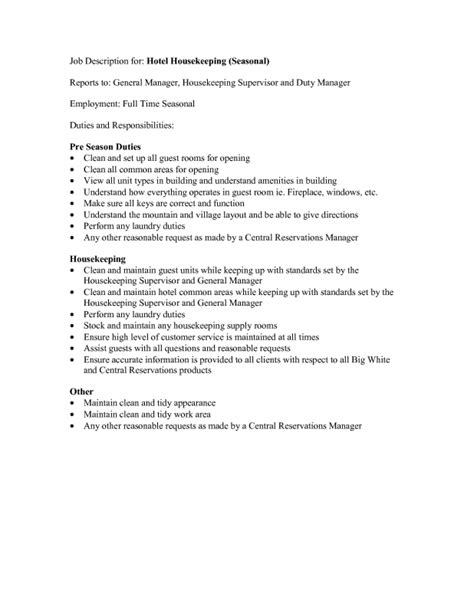 Hospital Housekeeping Description For Resume by Housekeeping Description For Resume Sles Of Resumes