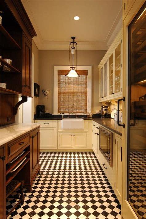 retro kitchen flooring ideas chess tile design