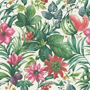 Grandeco Botanical Fruit Flower Pattern Wallpaper Tropical ...