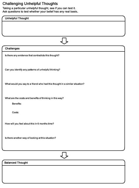 Moodjuice  Challenging Thoughts Worksheet  Selfhelp Guide #arttherapy #cheerup #livebetter
