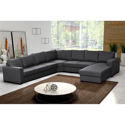canapé d 39 angle 8 places oara gris moderne achat vente