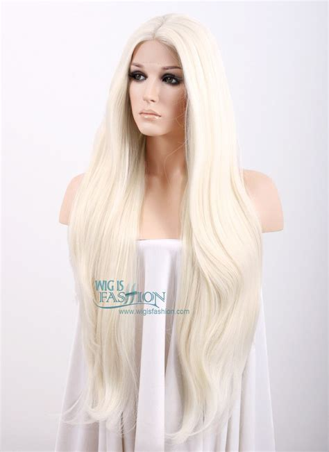 straight platinum blonde lace front synthetic wig lfd