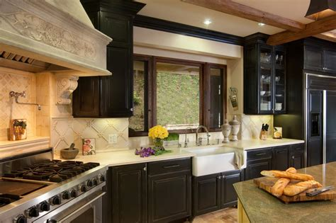 french country kitchen  black cabinets hgtv