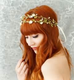 tiny gold stud earrings boho bridal crown flower hair wreath woodland headpiece