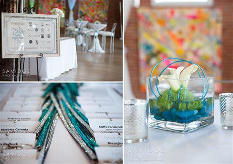 turquoise silver  white wedding decor