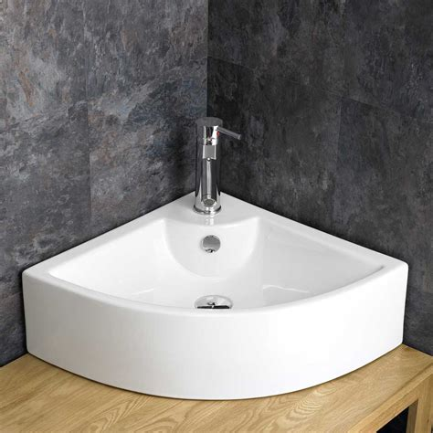 counter mount kitchen sinks 65cm wide corner basin countertop counter mounted white 8682