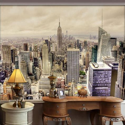 Living Room Wallpaper City by Modern Black White City Building Large Scale Mural