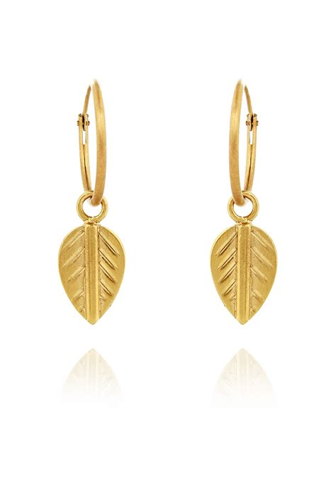 gold hoops earrings vinnie day gold plated logo leaf earring kate middleton