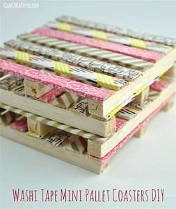 Washi tape mini wood pallet DIY coasters - Washi Tape Crafts