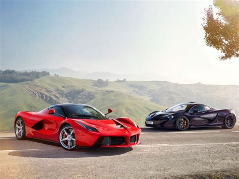 Mclaren Black Supercar And Ferrari Laferrari Red Supercar