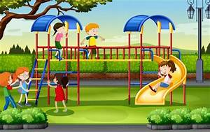 Boys and girls playing at the playground illustration ...