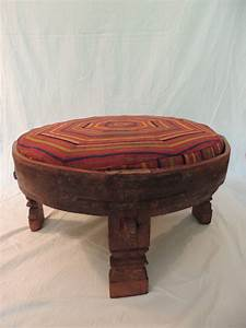 Moroccan carved tribal wood ottoman table image 2 for Tribal carved coffee table