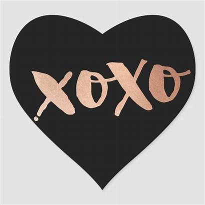 Heart Sticker Xoxo Gold Pink Rose Modern
