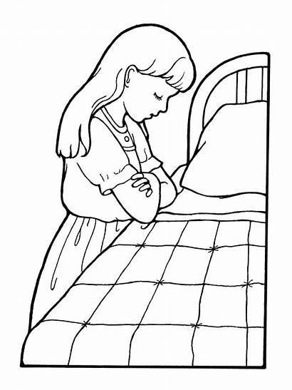 Praying Lds Prayer Clipart Coloring Primary Child
