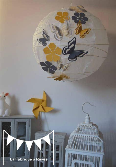 abat jour chambre garcon luminaire suspension abat jour papillons fleurs gris jaune