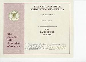 nra basic pistol course certificate With nra certificate template