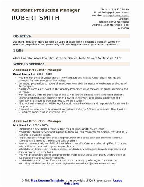 Instant download, easily editable & printable. Production assistant Job Description Resume Luxury assistant Production Manager Resume Samples ...