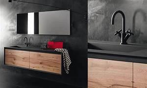 Meuble Noir Et Bois : meuble sous vasque stocco iks noir et bois vintage salle de bains et wc pinterest meuble ~ Teatrodelosmanantiales.com Idées de Décoration