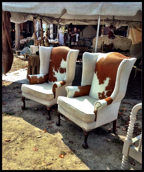 Cowhide Upholstery by Cowhide Brimfield Antique Show Flea Market Spotted