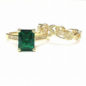 728 emerald shape emerald engagement ring sets pave With lord of the rings wedding ring sets