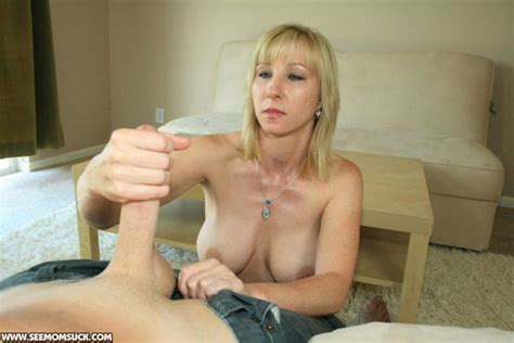Busty Blonde Mom Sucks Off And Jerks Her Neighbor Until He