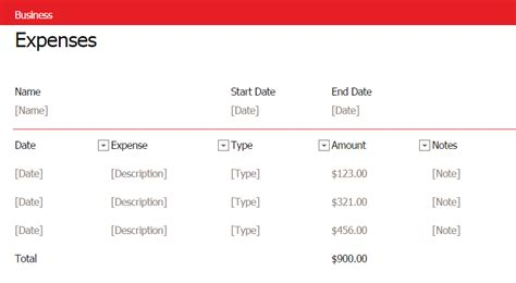 simple business expense template