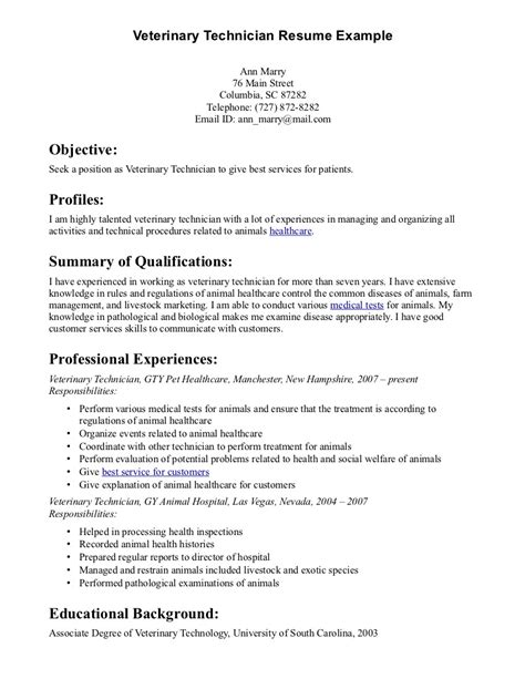 veterinarians assistant resume objective cv template veterinary student http webdesign14
