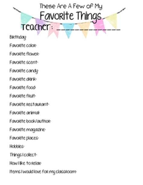my favorite things list template s quot favorite things quot list by shaw tpt