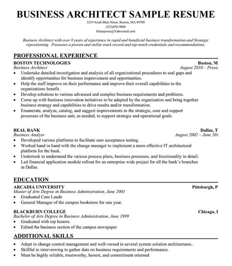 Resume For Architecture Fresher by Business Architect Resume Exle Free Resume Resumecompanion Resume Sles Across