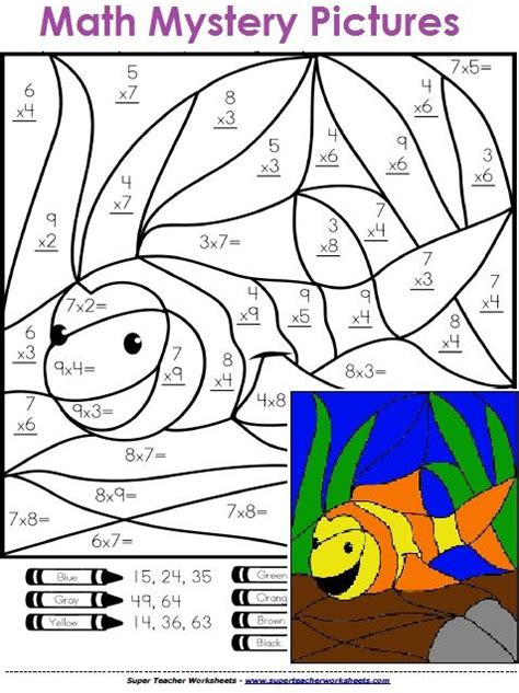 Math Mystery Pictures  Solve The Basic Math Problems And Color To Reveal A Hidden Picture