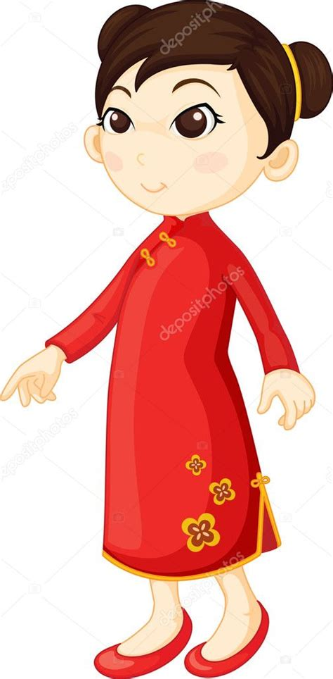 chinese girl clip art chinese girl stock vector