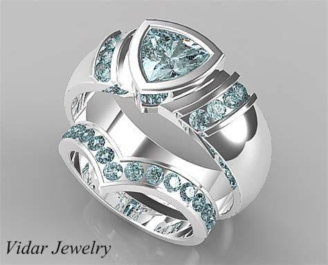 V Style Aquamarine Matching Wedding Bands For Him And Her