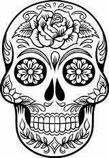 Skull Coloring Printable Sugar sketch template