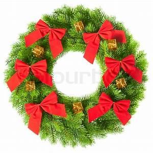 Green round Christmas wreath on white background Stock