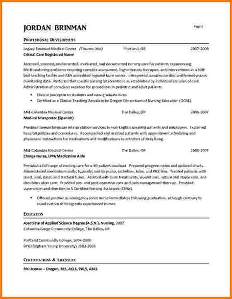 sle resume for experienced nursing asistant experienced nursing resume exles