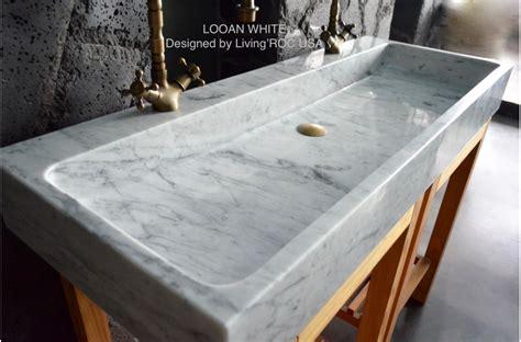 "47"" Double Bathroom Sink White Carrara Marble Stone Trough"