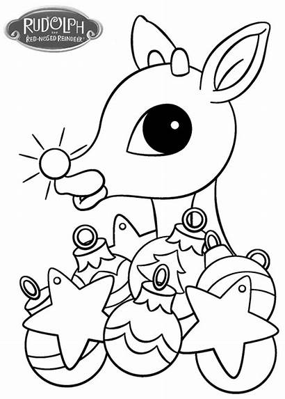 Rudolph Coloring Reindeer Pages Christmas Nosed Drawing
