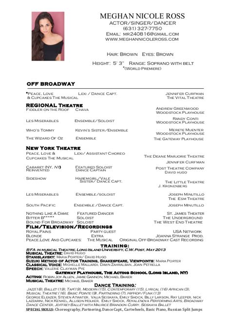 Dancers Resume by Ballet Dancer Resume Sle Resume Format