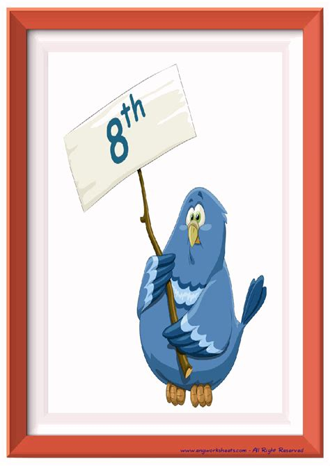 ordinal numbers esl printable flash cards worksheets