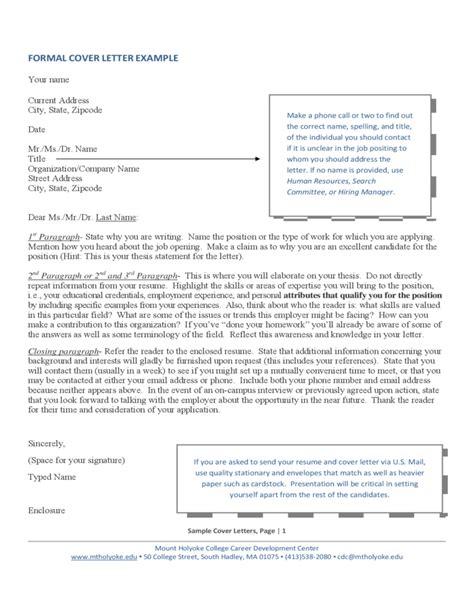 formal cover letter format