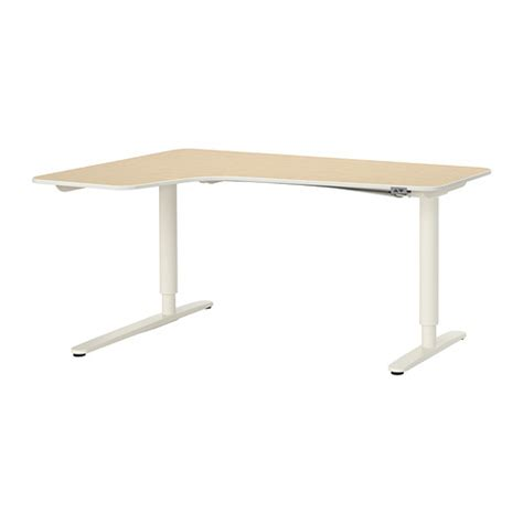 Ikea Bekant Corner Desk White by Bekant Corner Desk Left Sit Stand Birch Veneer White Ikea
