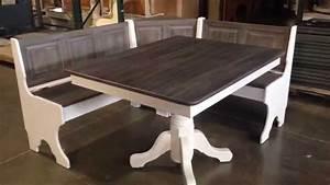 Amish Pedestal Table Traditional Corner Nook Set