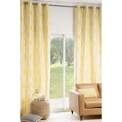 rideau 224 œillets jaune blanc 140 x 300 cm hypnosis maisons du monde