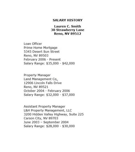 salary history 19 great salary history templates sles template lab