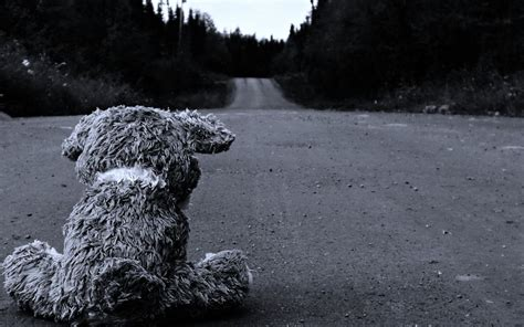 sad roads stuffed animals monochrome teddy bears black