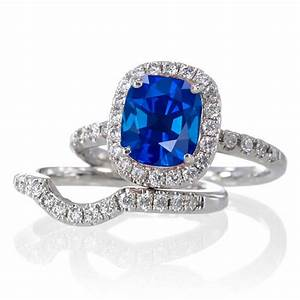 2 carat unique sapphire and diamond bridal ring set on 10k With diamond and sapphire wedding ring sets